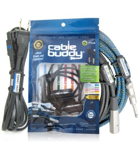 Câble Buddy® 5-pack, Noir–câble Organiseur Ties avec couleur ID Labels