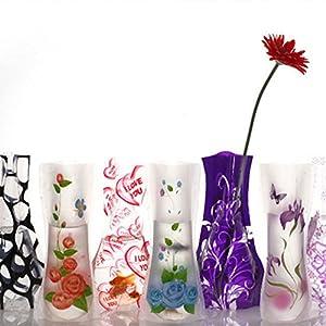 GEZICHTA Jarrón de plástico Plegable, 10 Unidades, Varios Estilos, jarrón Plegable, Colores para decoración del hogar, de plástico, florero Plegable