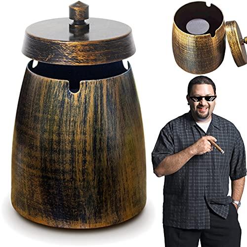 Cenicero grande Cenicero de hierro Cenicero de metal Cenicero con bronce Para limpiar cenicero de mesa de ceniza de cigarrillos con base antideslizante para decoración de interiores y exteriores