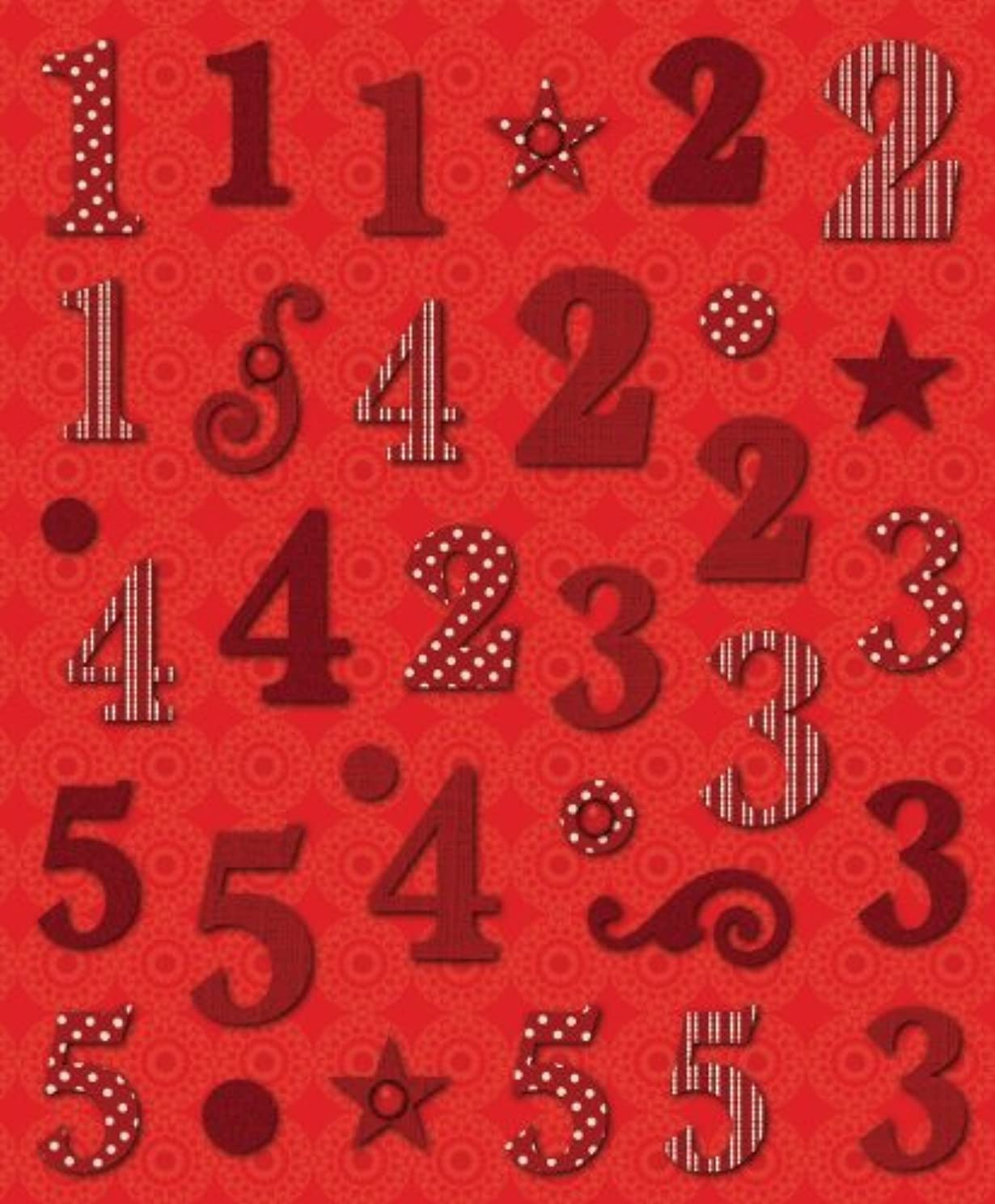 K&Company Red Numbers 1 Die-Cut Stickers
