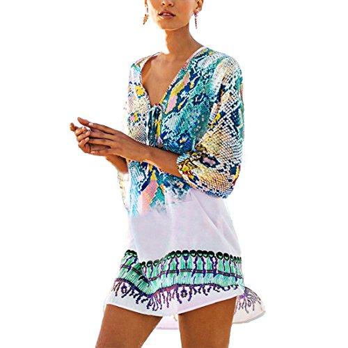 Saherewanr Women Pool Swimwear Beach-Suit Bikini Cover ups Sarong Bohemia Tassel Kimono Boho Gown Dress (Blue)