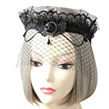 Gothic Crown Headdress Eye Head Veil Queen Garland Head Lace Cosplay Costume Party Forehead Pearl Headband for Mardi Gras Venetian Halloween Prom New Year Christmas Holiday
