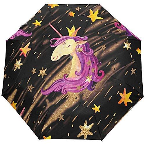 Stars Cute Animal Auto Öffnen Schließen Sun Rain Umbrella