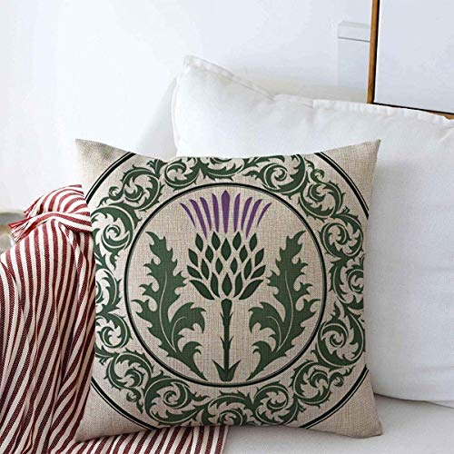 huagu Throw Pillow Covers 18x18 Inch Green Scottish Thistle Flower Round Leaf Nature Purple Scotland Heraldic Pattern British Celtic Cushion Case Cotton Linen for Winter Home Decoration
