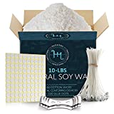 Hearth & Harbor Natural Soy Wax and DIY Candle Making Supplies -10 Lbs Soy Candle Wax Flakes w/ 100 Cotton Wicks, 2 Metal Centering Devices