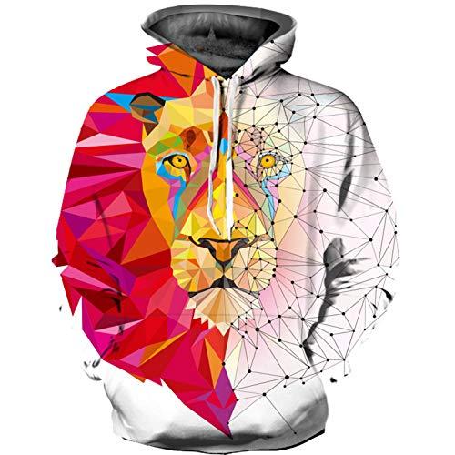 Kapuzenpullover,Langarm-Sweatshirts Für Herren Lionprinted Hoodies 3D Jumpers Animal Sportswear