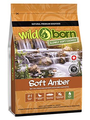 Wildborn Hundefutter getreidefrei Soft Amber 1kg | Sensitives Soft Hundefutter mit 70% frischem Entenfleisch