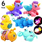 Pink stars LED Wind Up Toys,Inertia 6 Pcs Friction Toy Set Include Unicorn,Horse,Little Yellow Duck,Crocodile,Assorted Animal Toys for Party Favors, Birthday Goodie Bags, Kids Prizes