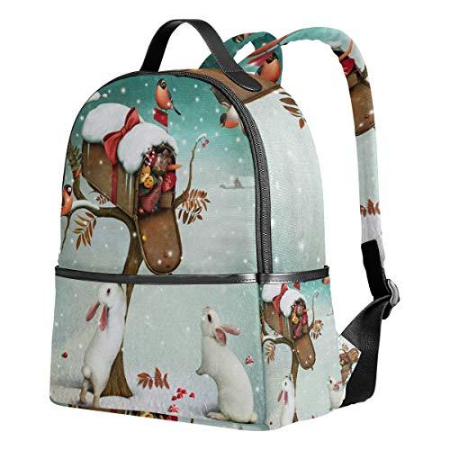 Emoya Süßer leichter Rucksack Briefkasten Weihnachtsgeschenke Winter Wald Mädchen Schultaschen Kinder Büchertaschen