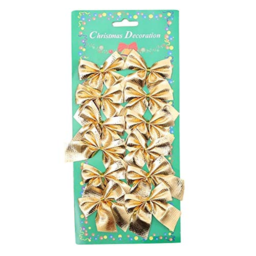 FDSD 12pcs Christmas Bow Xmas Wreaths Mini Bows Christmas Tree Bows Christmas Decorative Bows Hanging Ornaments Holiday Party Supplies (Gold)