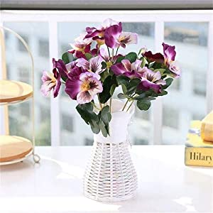 Silk Flower Arrangements Artificial and Dried Flower Artificial Bouquet Simulation Plastic Silk Artificial Flower Pansy Wedding Party Decor Home Office Table Decoration