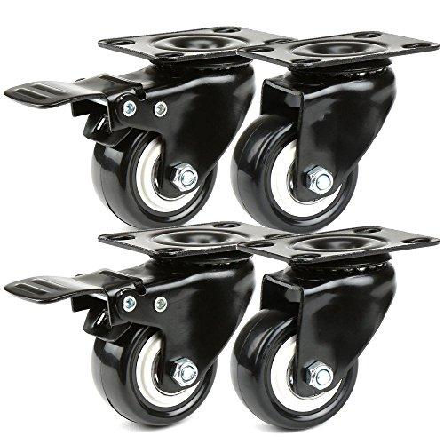 JZK 4 x Ruedas giratorias para Muebles 180 kg Ruedas pivotantes Goma con Placa de Montaje y rodamiento, 2 con Freno + 2 sin Freno