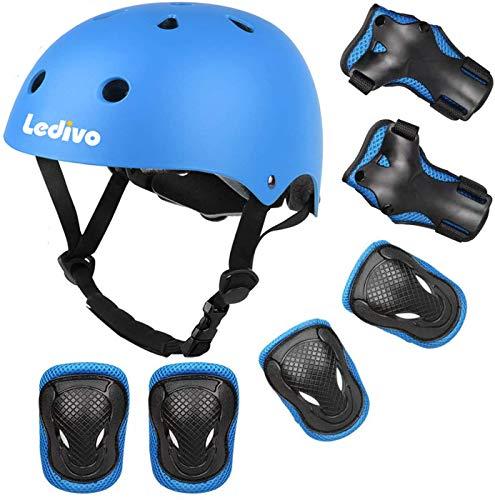 Ledivo Kids Bike Helmet, with Sports Protective Gear Set Knee Elbow Pads Wrist Pads for 3-8 Boys Girls Bike Hoverboard Scooter Rollerblading Skateboard Helmet Set
