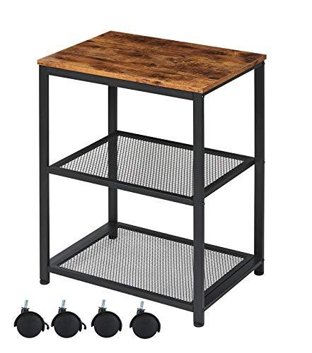 EPHEX Küchenwagen, Servierwagen, Küchenregal auf Rollen, Rollwagen im Industrie-Design, Mikrowellenregal aus Holz und Metall, auf 4 Rollen, 3 Ebenen für Küche und Wohnzimmer, Vintage Dunkelbraun