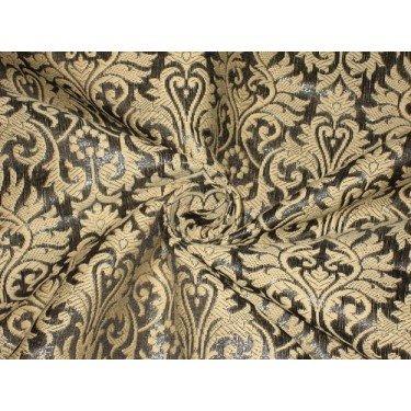 The Yard Bro156[7] - Tela de brocado de seda pura, acero metálico, color gris oscuro y crema dorado, 44