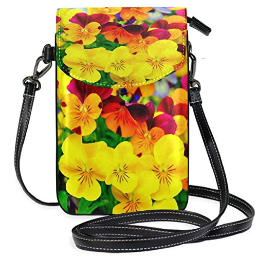 XCNGG Small Crossbody Coin Purse Landscape Flowers Green LeavesPhonepurse for Women Bags Leather Multicolor Smartphone Bags Purse With Removable Strap