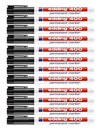 edding 400 Permanentmarker (konische Spitze) (12er Pack, Schwarz)