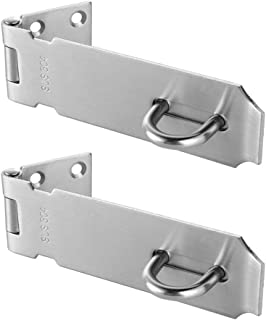 JQK Door Hasp Latch Lock, 5 Inch Stainless Steel Safety Packlock Clasp, Brushed Finish 2 Pack, DL130-BN-P2