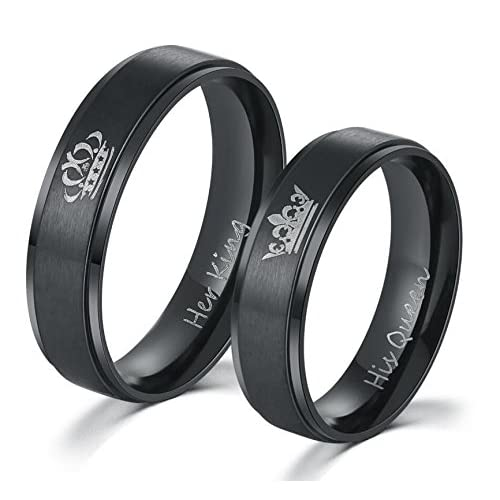 Moneekar Jewels 2PCS Her King His Queen Black Ring Titanium Stainless Steel Band Set Couples Anniversary Engagement Promise Ring
