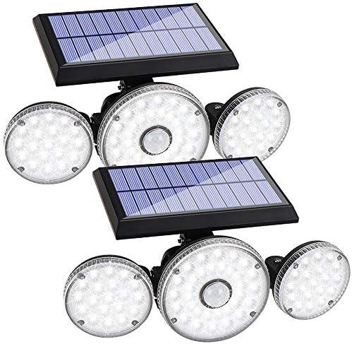 2 Pack Solar Lights Outdoor 3 Modes with Motion Sensor Lights 70 LED 3 Adjustable Heads Flood product image