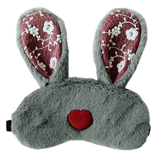 Slaapmasker pluche konijn oor draagbare slaapoog dekking oogschaduw met ijs Pack Grijs