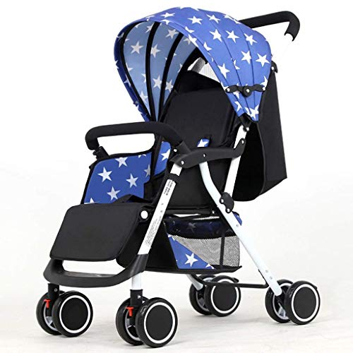 WJY Cart,Dining Car Medical Cart Diner Baby Stroller Can Sit Reclining Ultra Light Portable Four-Wheeled Trolley Small Push Chair Stroller Baby Cart,Blue