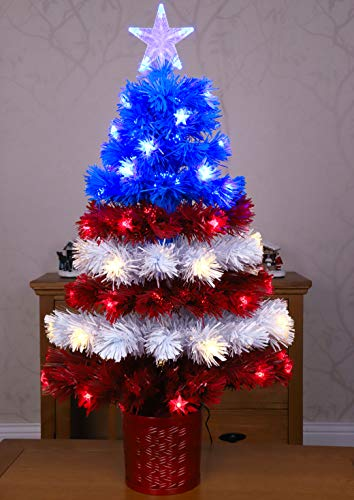 """Christmas Concepts 36"""" Fibre Optic LED American Flag Christmas Tree - USA Red, White & Blue Christmas Decorations - Indoor & Outdoor Use"""