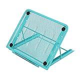 OKPOW - Soporte ergonómico para ordenador portátil, soporte para escritorio, portátil para escritorio, plegable, con ventilación, universal, ligero, ajustable y ligero, color azul