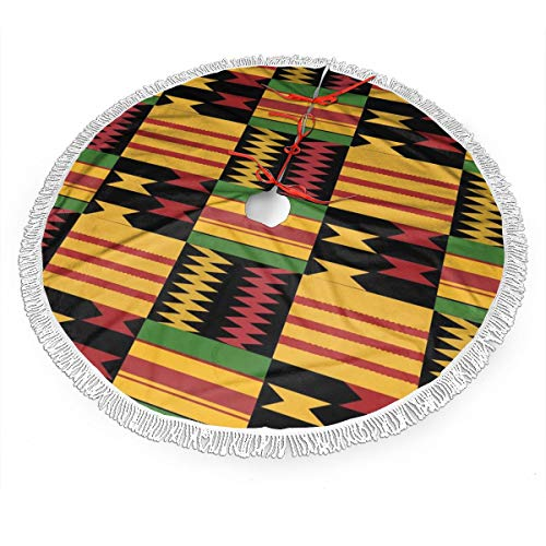 HengStore Kente African Print Tree Skirt Cozy Warm Christmas Tree Skirts Lightweight Tree Mat Cover Durable Tree Decoration Skirts for Holiday Party New Year Supplies 48'