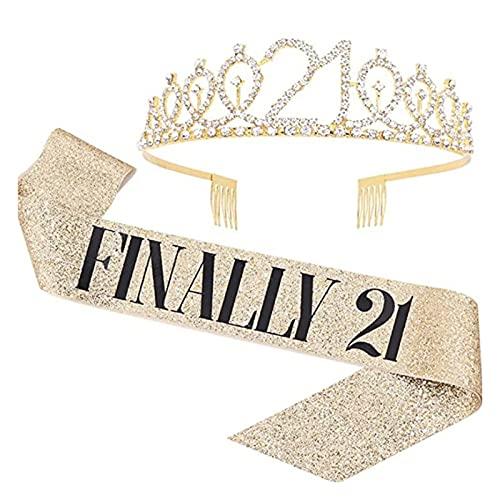 Banda y tiara de 21º cumpleaños para mujeres, princesa, corona, accesorios para el pelo, accesorios para fiestas, fajín y tiara para niñas, para todo lo bueno para el 21 cumpleaños (dorado)