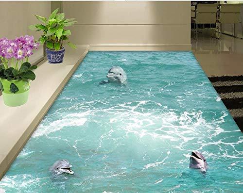 Murales de suelo de playa en pegatinas de pared dolphin PVC papel de pared autoadhesivo mural de suelo-150x105cm
