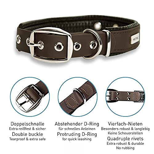 PetTec Hundehalsband aus Trioflex™ mit Polsterung, Braun, Wetterfest, Wasserabweisend, Robust - 4
