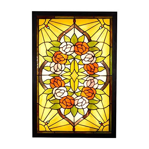 YWX Tiffany Stil Wandleuchte Deckenleuchte,Rose Muster Buntglas Handgemacht,36W LED Lampe 3000K 3500LM Wandleuchte Innen für Flur Wohnzimmer Schlafzimmer