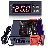 DiyStudio 10A / AC 110V-220Vデジタル温度コントローラは熱電対ディジタルサーモスタットを制御します-50°C〜110°C センサー 付き MH1210W AC 100V 冷蔵庫 水族館 実験室 倉庫 温室などの温度管理システムに最適です広い電圧範囲冷暖房用 単一の赤いLCD、NTCセンサーライン付き