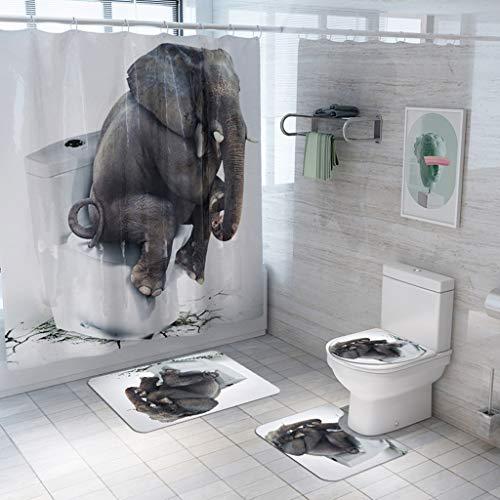 Gmsqj Duschvorhang Sets Mit Anti-Rutsch-Teppiche, Toilettendeckel Deckel Und Badvorleger, Elefant Sitzt Auf Toilette Denken Musterentwurfs- Haltbare wasserdichte Bad Anzug