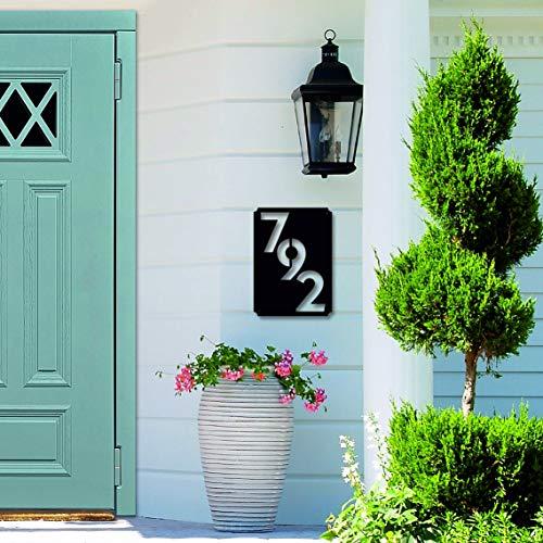 Letrero de metal para casa, número de casa vertical, regalo de inauguración de la casa, decoración de pared de metal de 45,7 cm