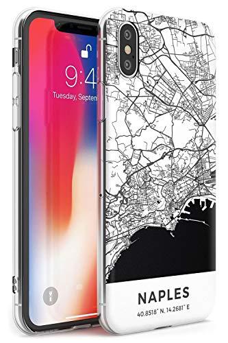Case Warehouse Mapa de Nápoles, Italia Slim Funda para iPhone XS TPU Protector Ligero Phone Protectora con Viaje Pasión De Viajar Europa Ciudad Calles