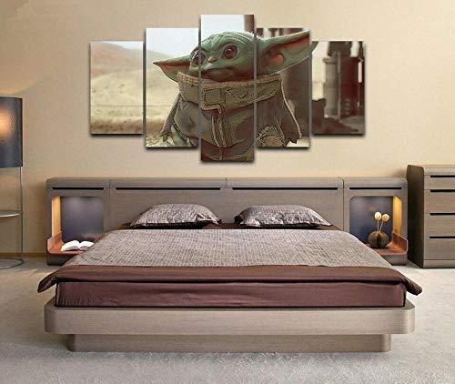 baixiangguo Baby Yoda Star Wars Moderno 5 Piezas Pintura En Lienzo HD Impresión En Lienzo Arte De La Pared Imágenes Póster Sala De Estar Decoración del Hogar(con Marco) -150 x 80 cm