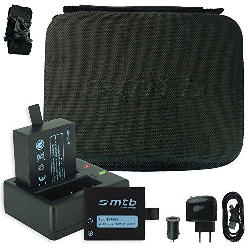 SPARSET: mtb Schutztasche/Hülle (Schwarz) + 2x Akku + Dual-Ladegerät für Qumox SJ4000, SJ5000, SJ6000 / SJCam M10 ... / BOOMYOURS... s. Liste!