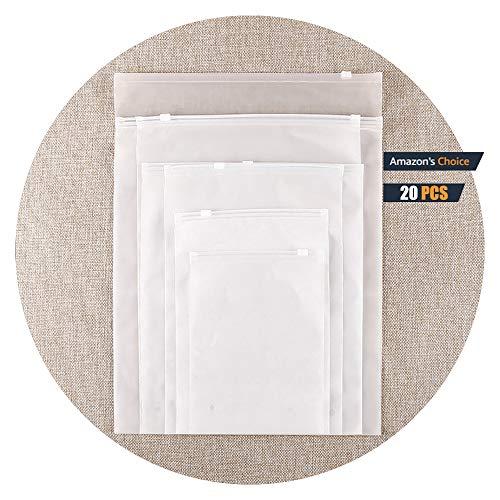 HVDHYY 20 PCS Borse per la conservazione del Viaggio Borse con Chiusura a Zip in plastica Organizer per Bagagli richiudibile Custodia glassata Trasparente 13.77'* 17.7' / 35cm * 45cm