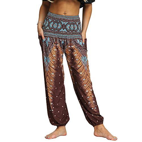 Nuofengkudu Damen Hippie Hosen mit Taschen Haremshosen Leichte Boho Muster Bunt High Waist Yogahosen Sommer Lockere Umstandshose Freizeithose (Braun A,One Size)