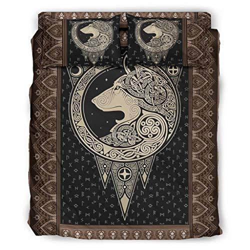 LIFOOST Viking Wolf - Juego de cama (4 piezas, 228 x 228 cm), diseño de lobo, color blanco