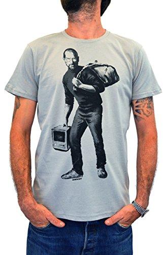 """""""BANKSY Steve Jobs"""" FACES T-shirt Homme Street Art Impression sérigraphique artisanale manuelle à l'eau (M Homme)"""