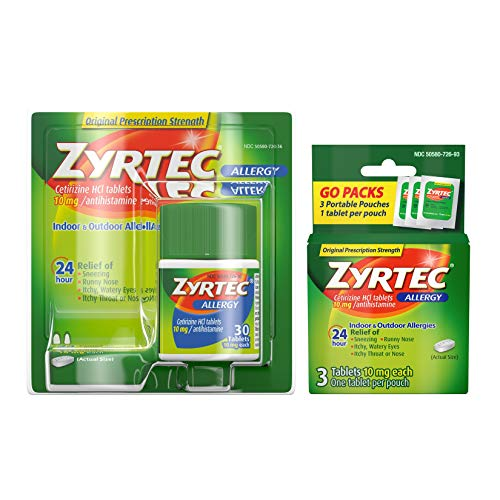 Zyrtec 24 Hour Allergy Relief Tablets, Antihistamine Allery Medicine with 10 mg Cetirizine HCI, Bundle with 1 x 30 ct and 1 x 3 ct Travel Pack