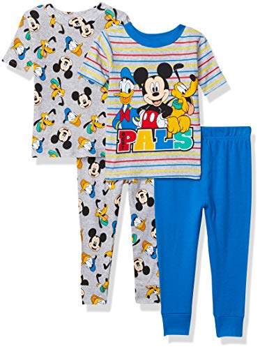 Disney Boys' Mickey Mouse 4-Piece Cotton Pajama Set, First Pals, 3T