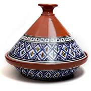 Kamsah Hand Made and Hand Painted Tagine Pot | Moroccan Ceramic Pots For Cooking and Stew Casserole Slow Cooker (Large, Classic Bohemian Blue)