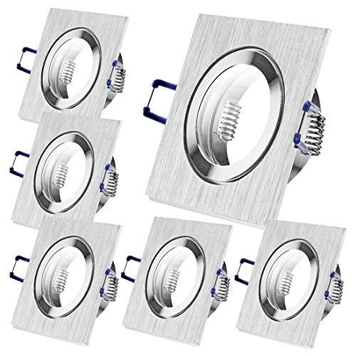 6 x Bad Einbaustrahler 12V inkl. MR16 Fassung Farbe BiColor IP44 Deckenspots Neptun Eckig Einbauleuchten