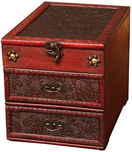 aipipl Caja de Maquillaje portátil de Estilo Chino Caja de joyería de Maquillaje de diseño Vintage Decoración de Dormitorio Madera