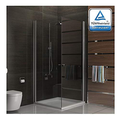 Alpenberger douchewand hoekingang | 2-deurs van veiligheidsglas 80x195 douchecabine douche ESG | eenvoudige montage | verstelbare wandaansluitprofielen (20 mm) | glasdikte 6 mm | Compleet