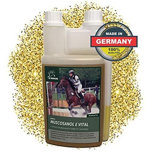 EMMA® Rijstkiemolie voor paarden - voer spieropbouwend paard I Rijstzemelenolie I Energy Booster I bijvoeder plus vitamine E hoge dosering paard I Senior paardenvoer 1 L